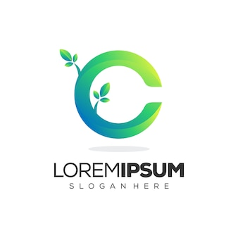 Logotipo de folha premium c letra