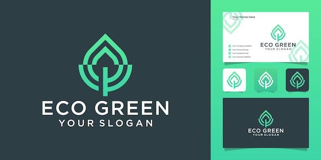 Logotipo de folha verde com modelo de design de logotipo de estilo de linha e cartão de visita