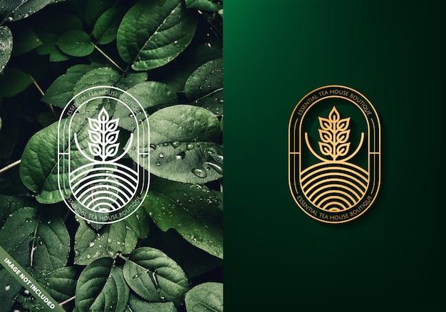 Logotipo de folhas de chá