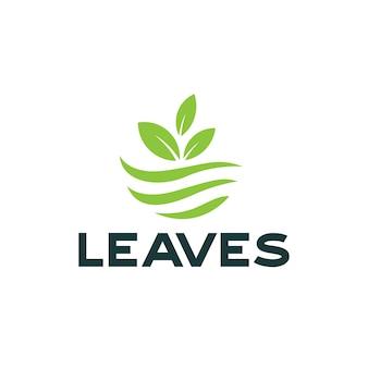 Logotipo de folhas verdes