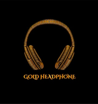 Logotipo de fone de ouvido de ouro