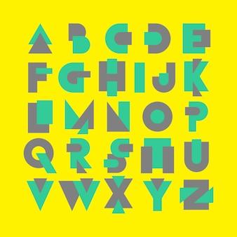 Logotipo de fonte do alfabeto moderno conjunto de memphis