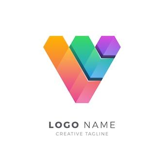 Logotipo de forma 3d letra v