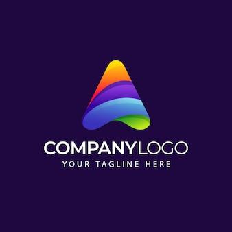 Logotipo de forma abstrata de triângulo com letra