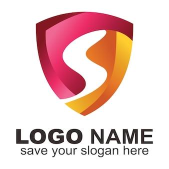 Logotipo de forma de escudo com letra s