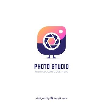 Logotipo de fotografia com cores gradientes
