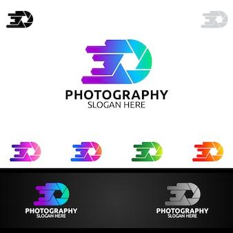 Logotipo de fotografia de câmera de velocidade