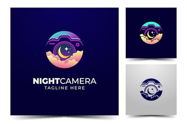 Logotipo de fotografia de câmera noturna