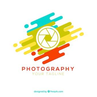 Logotipo de fotografia de diafragma em cores
