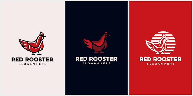Logotipo de frango com conceito de linha, mascote de galo, fazenda de galinhas, ilustração vetorial de frango.