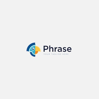Logotipo de frase simples mascote de cabeça com pássaro papagaio