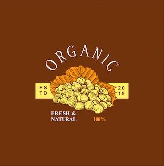 Logotipo de fruta desenhada mão vintage
