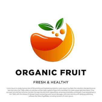 Logotipo de fruta orgânica abstrata modelo de design de fruta laranja com ilustração vetorial de duas folhas