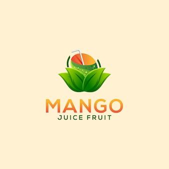 Logotipo de fruta suco de manga