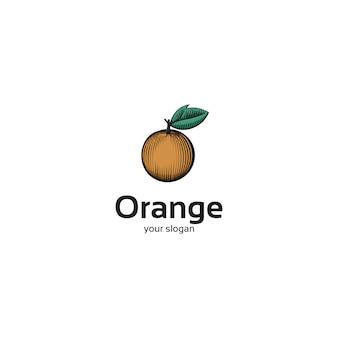 Logotipo de frutas laranja vintage