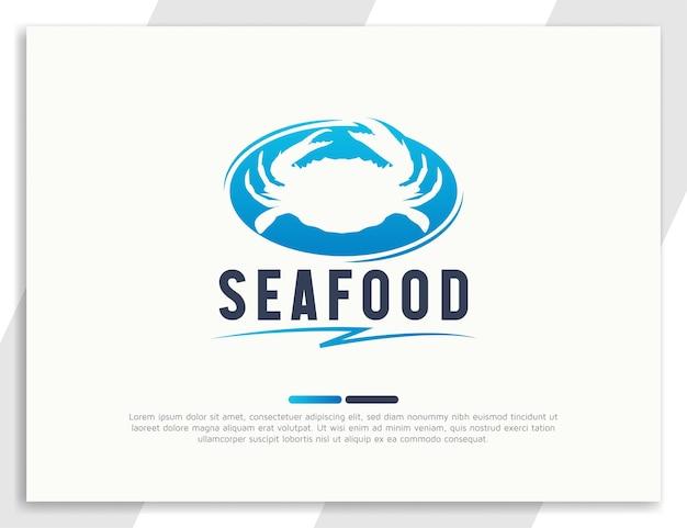 Logotipo de frutos do mar frescos com ilustração de caranguejo