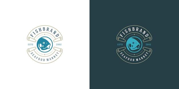 Logotipo de frutos do mar ou sinal de mercado de peixes e modelo de emblema de restaurante