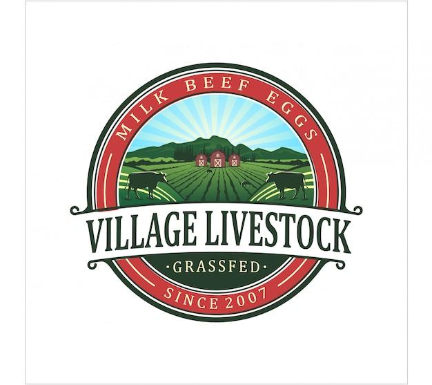 Logotipo de gado de aldeia