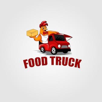 Logotipo de galo de caminhão de comida