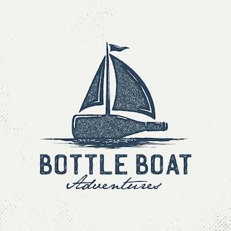 Logotipo de garrafas com veleiros