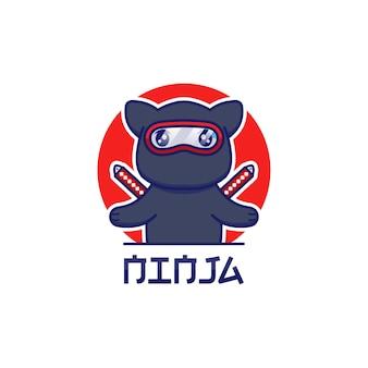 Logotipo de gato ninja fofo