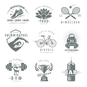 Logotipo de ginásio de fitness isolado cinza conjunto com maratona executar tênis de clube wimbledon jab boxe descrições