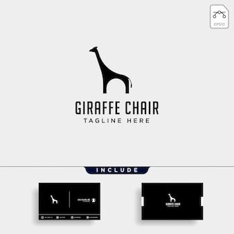 Logotipo de girafa cadeira isolado