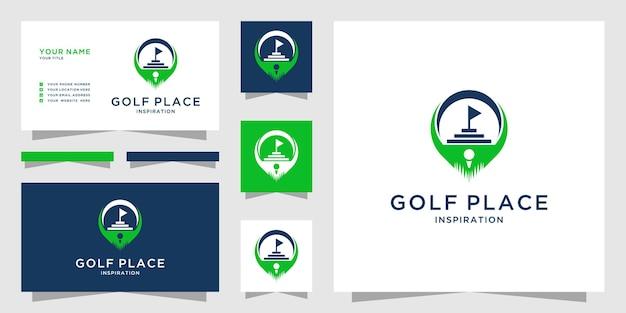 Logotipo de golfe criativo com ícone de logotipo de design de marcador de mapa e cartão de visita