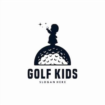 Logotipo de golfe de vetor de silhueta de crianças de golfe