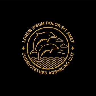 Logotipo de golfinho de arte de linha