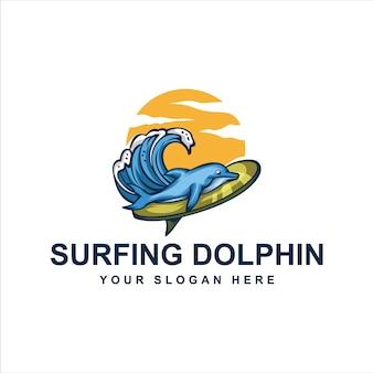 Logotipo de golfinhos de surf