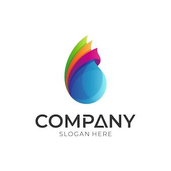 Logotipo de gota de água colorida