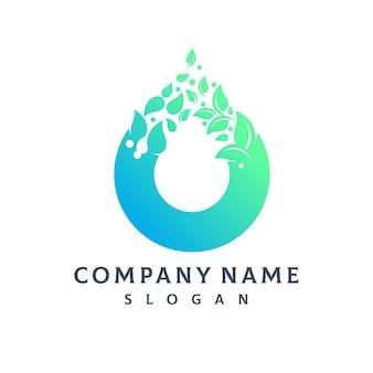 Logotipo de gota de água de folha