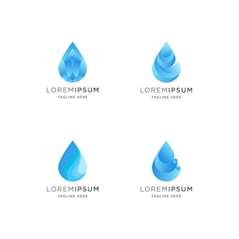 Logotipo de gota de água gradiente com forma abstrata