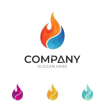 Logotipo de gota de fogo e água