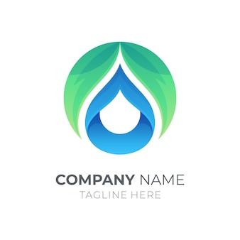 Logotipo de gota de folha e água