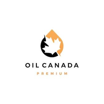 Logotipo de gota de óleo de folha de bordo canadense canadá