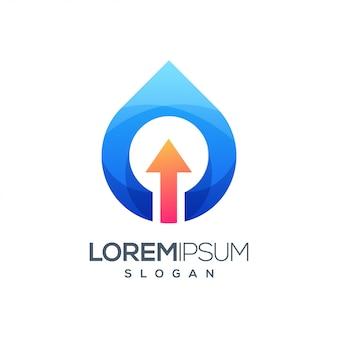 Logotipo de gradiente colorido de seta de água