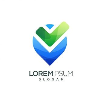Logotipo de gradiente colorido lista de verificação