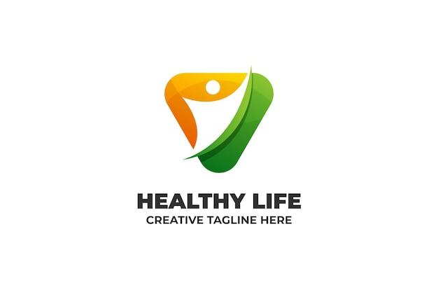 Logotipo de gradiente de atividade esportiva saudável