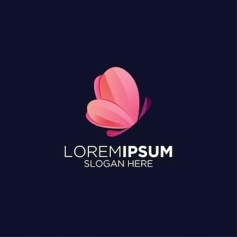 Logotipo de gradiente de borboleta amor moderno