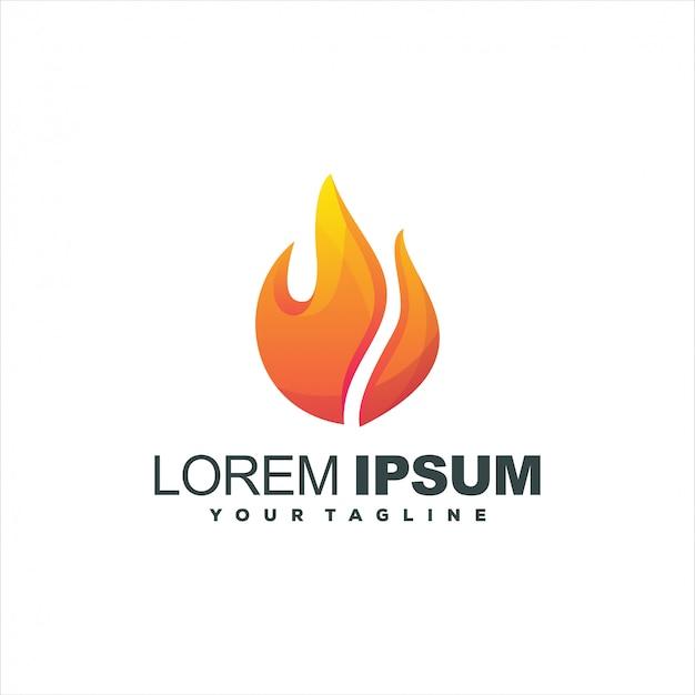 Logotipo de gradiente de chama impressionante
