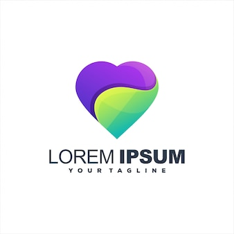 Logotipo de gradiente de coração impressionante