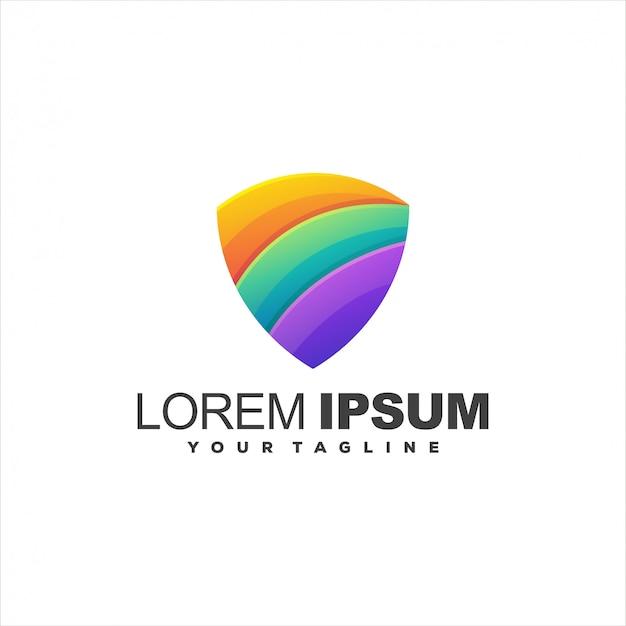Logotipo de gradiente de escudo impressionante