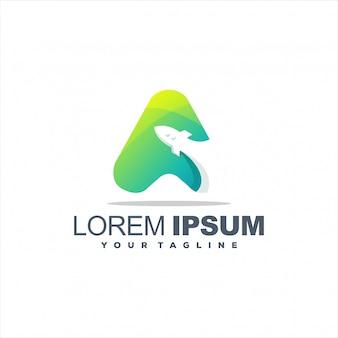 Logotipo de gradiente de foguete impressionante
