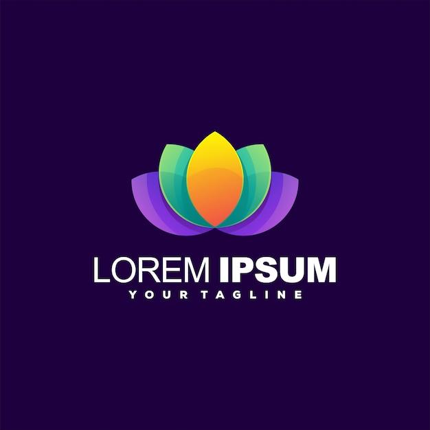 Logotipo de gradiente de lótus impressionante