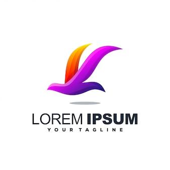 Logotipo de gradiente de pássaro impressionante