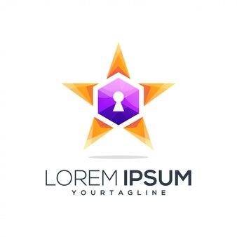 Logotipo de gradiente incrível hexágono estrela