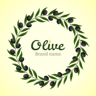 Logotipo de grinalda de ramos de oliveira preto
