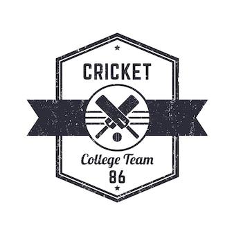 Logotipo de grunge vintage de equipe de críquete